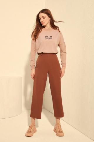 Trendyol Brown Baggy Legs Casual Mold Pants dámské 42