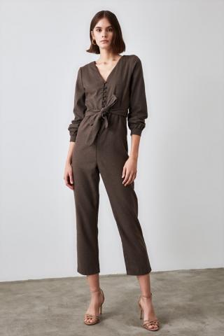 Trendyol Brown Belt Button Jumpsuit dámské 34