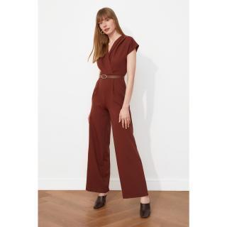 Trendyol Brown Belt Croissant Collar Jumpsuit dámské 34