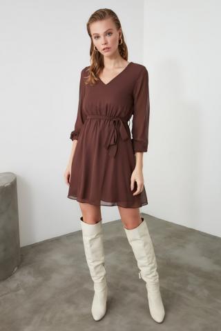 Trendyol Brown Belt Dress dámské 34