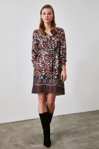 Trendyol Brown Belted Shirt Dress dámské 34