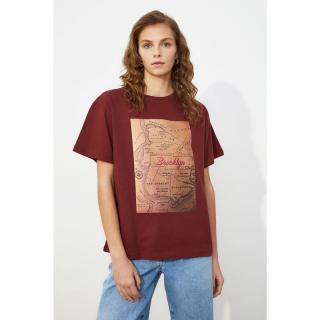 Trendyol Brown Boyfriend Knitted T-Shirt dámské S