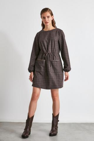 Trendyol Brown Clamping and Pocket Detail Dress dámské 34