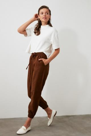 Trendyol Brown Clamping Detailed Pants dámské 34