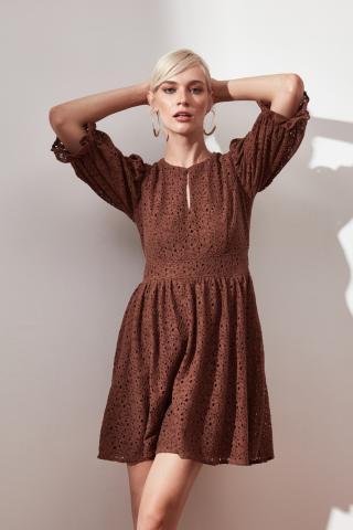 Trendyol Brown Collar Detailed Dress dámské 34