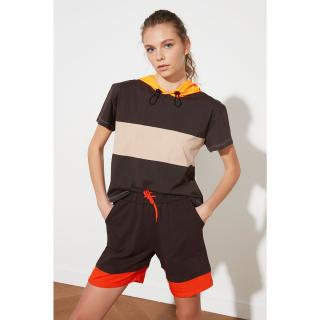 Trendyol Brown Color Block Hooded Sports T-Shirt dámské XS