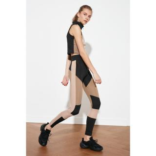 Trendyol Brown Color Block Sports Tights XS