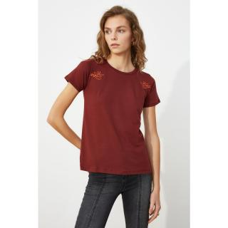 Trendyol Brown Embroidered Basic Knitted T-Shirt dámské XS