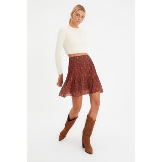 Trendyol Brown Floral Skirt dámské Other 34
