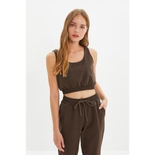 Trendyol Brown Knitted Bottom-Top Set dámské Other XS