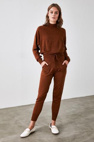 Trendyol Brown KnitTed Knitwear Bottom-Top Suit dámské S