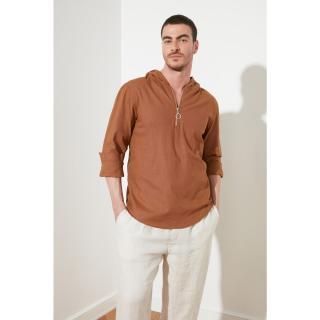 Trendyol Brown Mens Regular Fit Half Pat Zip Hooded Shirt pánské S