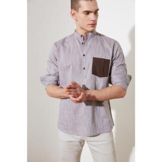 Trendyol Brown Mens Regular Fit Judge Collar Single Pocket Shirt pánské S