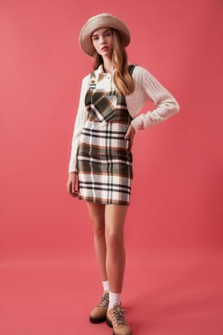 Trendyol Brown Plaid Jile Dress dámské 36