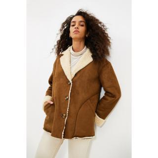 Trendyol Brown Plush Detailed Button Closure Coat dámské Other XS