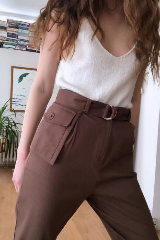 Trendyol Brown Pocket Detailed Pants dámské 32