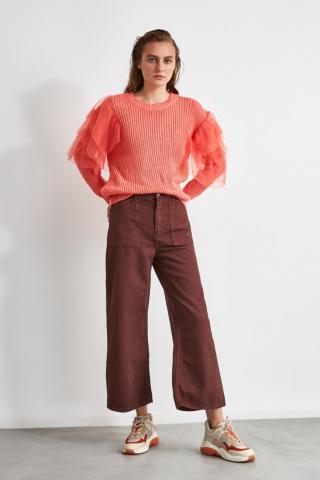Trendyol Brown Pocket Detailing High Waist Wide Leg Jeans dámské 34