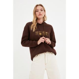 Trendyol Brown Printed Boyfriend Hoodie Raised Knitted Sweatshirt dámské Other XL