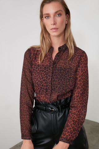 Trendyol Brown Printed Shirt dámské 34
