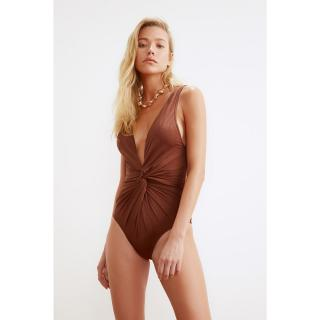 Trendyol Brown Ruffles Detailed Swimsuit dámské 34