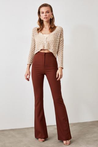 Trendyol Brown Spanish Leg Pants dámské 34