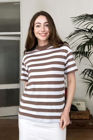 Trendyol Brown Steep Collar Striped Basic Knitted T-Shirt dámské XS