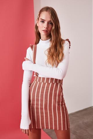 Trendyol Brown Striped Jile Dress dámské 34