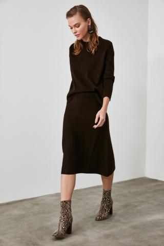Trendyol Brown Sweater Skirt Knitwear Bottom-Top Team dámské S