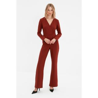 Trendyol Brown Tall Double Breasted Collar Jumpsuit dámské Other 34