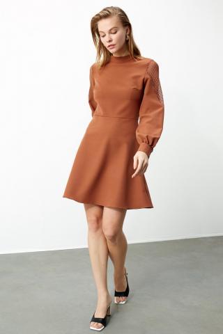 Trendyol Brown Tulle Detailed Dress dámské 34