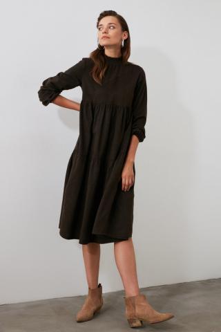 Trendyol Brown Wide Cut Dress dámské 34
