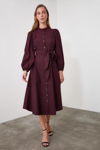 Trendyol Burgundy Belt Button Dress dámské 34
