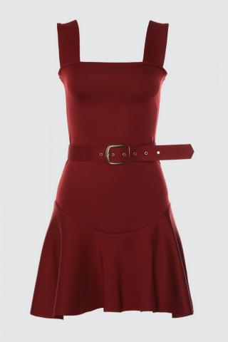 Trendyol Burgundy Belt Dress dámské 34
