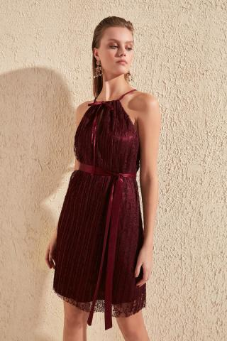 Trendyol Burgundy Belt Pyregmy Lace Dress dámské 34