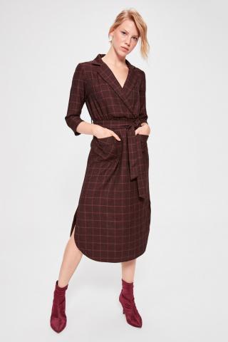 Trendyol Burgundy Belted Dress dámské 34