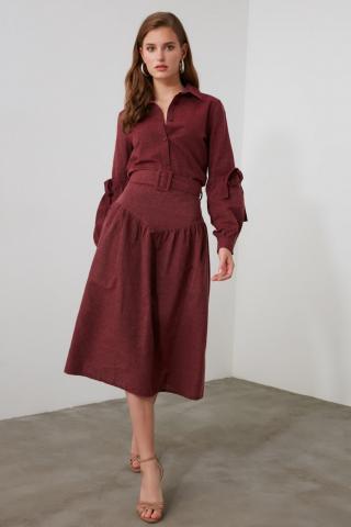 Trendyol Burgundy BeltEd Skirt dámské 34