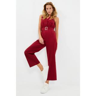 Trendyol Burgundy Belted V-Neck Jumpsuit dámské Other 34