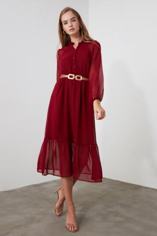 Trendyol Burgundy Button Detailed Dress dámské 36