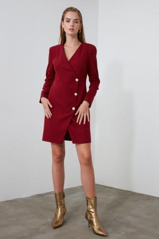 Trendyol Burgundy Button Detailed Jacket Dress dámské 34