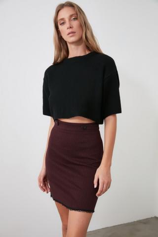 Trendyol Burgundy Button Detailed Knitted Skirt dámské XS