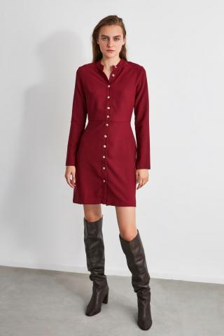 Trendyol Burgundy Button Dress dámské 34