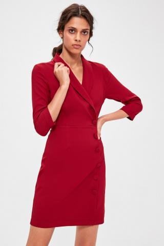 Trendyol Burgundy CruiseNeck Jacket Dress dámské 34