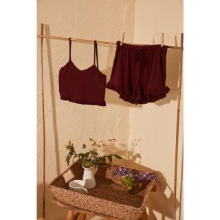 Trendyol Burgundy Fitilli Knitted Pyjamas Kit dámské S