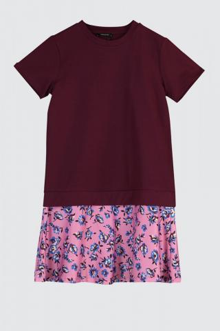 Trendyol Burgundy Floral Patterned Knitting Dress dámské S