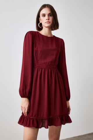 Trendyol Burgundy Flywheel Lace Detailing Dress dámské 34