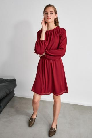 Trendyol Burgundy Gathered Dress dámské 34