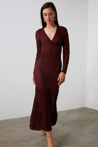Trendyol Burgundy Glitter Cruise Collar Knitwear Dress dámské S