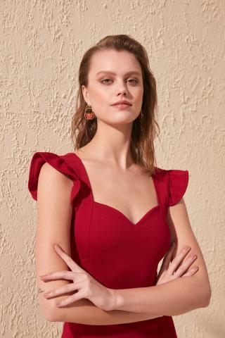 Trendyol Burgundy Hanger Frilled Knitted Dress dámské XS