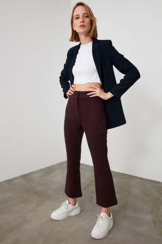 Trendyol Burgundy High Waist Trousers dámské 36