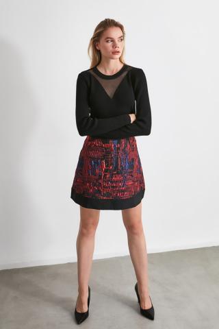 Trendyol Burgundy Jacquard Skirt dámské 34